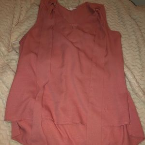 Pink Sleeveless Blouse with Tie